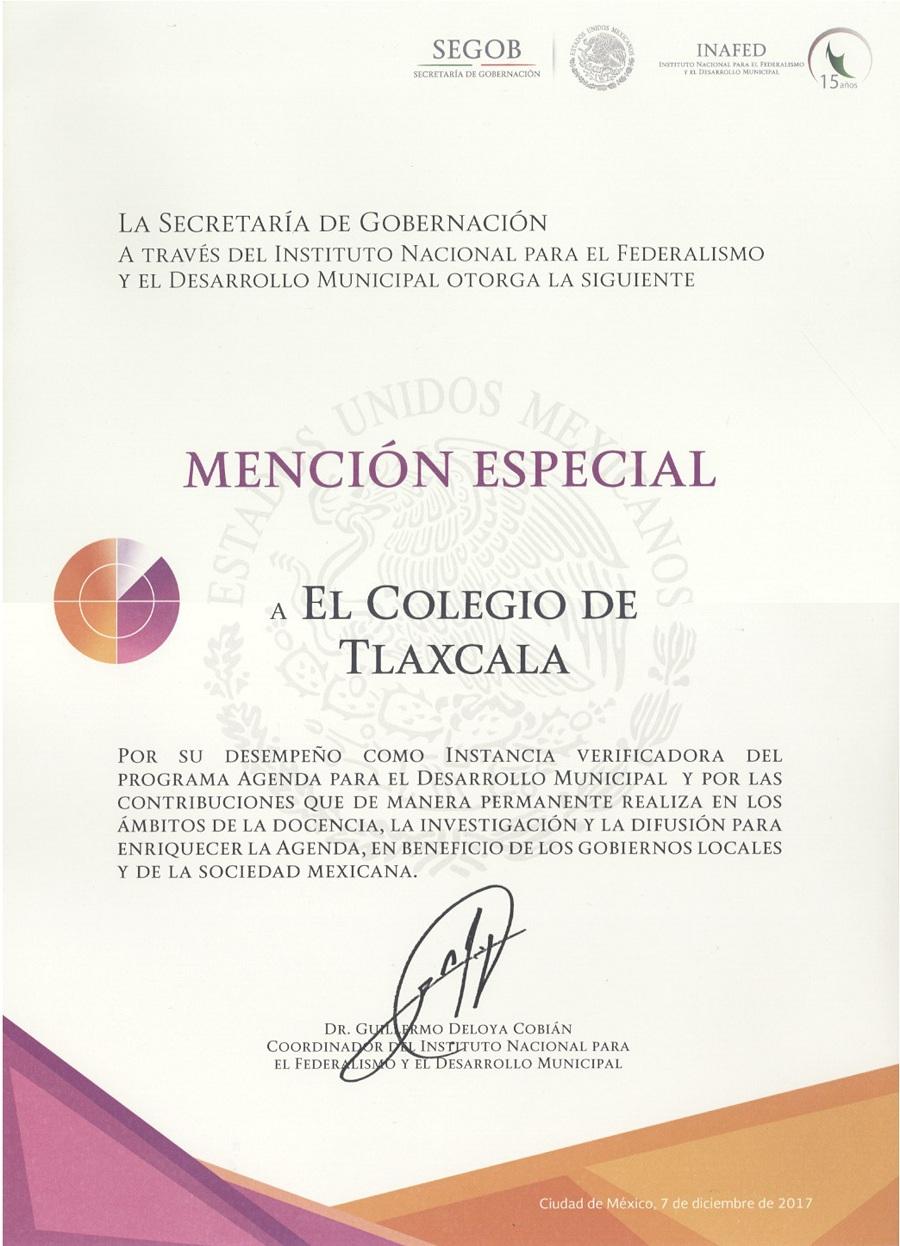RECONOCE INAFED AL COLTLAX POR CONTRIBUCIONES A LA AGENDA PARA EL DESARROLLO MUNICIPAL